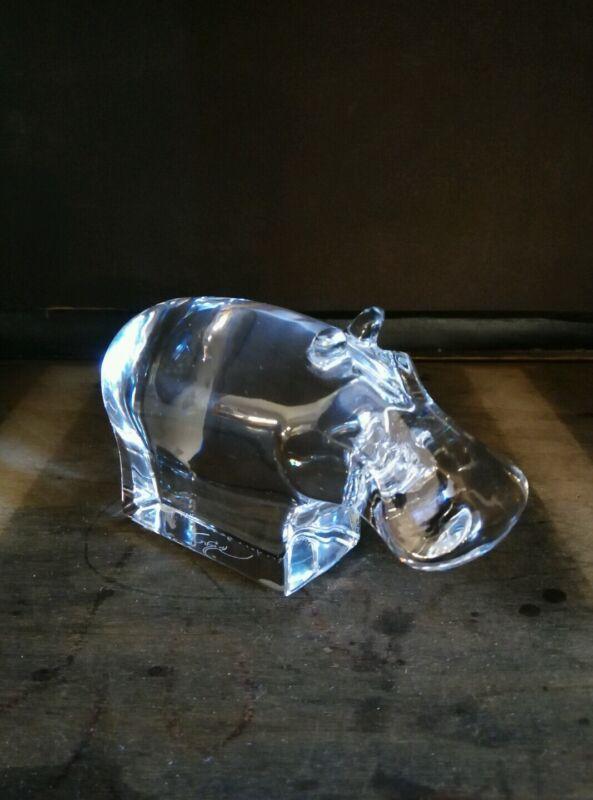 ORREFORS Art Glass Crystal Hippopotamus Figurine