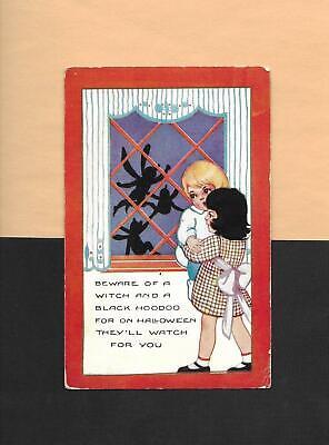 CHILDREN Frightened By SPIDERS On Vintage 1923 Art Deco HALLOWEEN Postcard