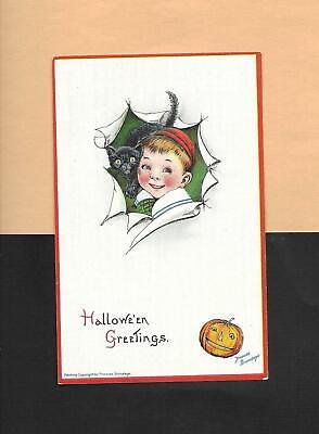 Adorable BOY, BLACK CAT, JOL On A/S BRUNDAGE Vintage Unused HALLOWEEN Postcard