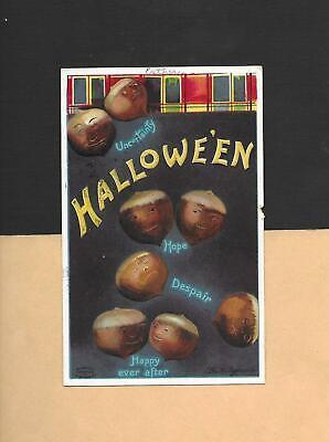 HALLOWEEN Acorn Superstitution On A/S CLAPSADDLE Embossed Vintage 1911 Postcard