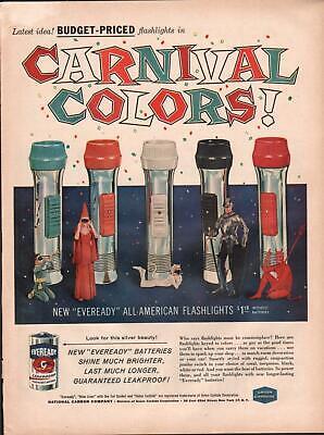 1959 Eveready PRINT AD Batteries feat: Flashlight Halloween kids costume Decor - Flashlight Halloween Costume