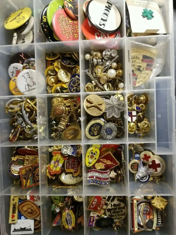 Huge Collection Of Vintage Antique Pins, Fraternal, Military, Collectibles