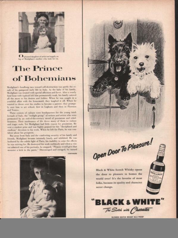 1958 Black & White PRINT AD  Morgan Dennis Scottish & Westie Terriers Open Door