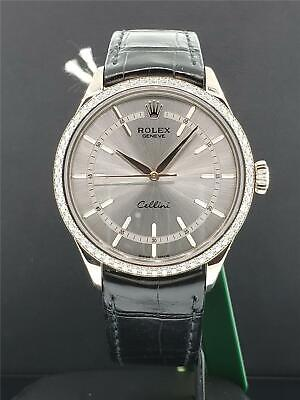 Rolex Cellini Time Ref. 50709 RBR 18k White Gold - Factory Diamond Bezel Box & P (Cellini Time)