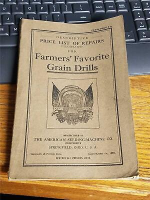 RARE 1909 Farmers' Favorite Grain Drills Repair Manual Springfield Ohio Farm