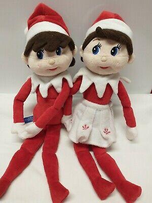 Elf On The Shelf Girl Christmas Plush Doll White Snowflake Skirt & Boy Lot E1