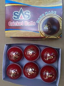 Test Crown Red Cricket Ball Leather Entirely Stitched 5.5 oz MCC Approved