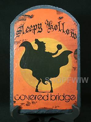 Hand-Painted Slate Halloween Sleepy Hollow Covered Bridge Witch Sign