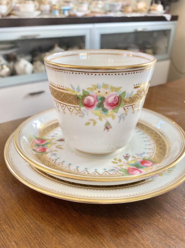 Rare Minton Raised Gold Dot Tea Cup Saucer Plate Trio HP