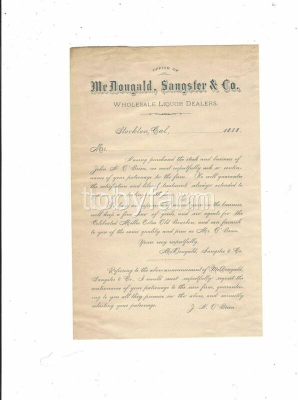 1888 SCARCE STOCKTON CA. LIQUOR DLRS BUSINESS ANNOUNCEMENT MCDOUGALD SANGSTER CO