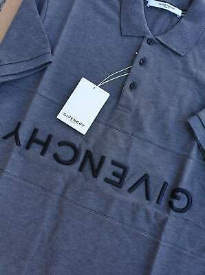 G*IVENCHY Chest Inverted Logo Polo Gray Sz S