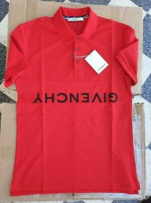 G*ivench*y Red Chest Logo inverted embroidered Polo sz S