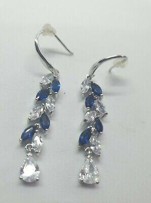 Jon Richard Silver Plated Cubic Zirconia Blue Crystal Leaf Drop Earrings