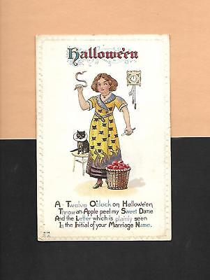 GIRL'S SUPERSTITION, BLACK CAT On Colorful Vintage 1912 HALLOWEEN Postcard