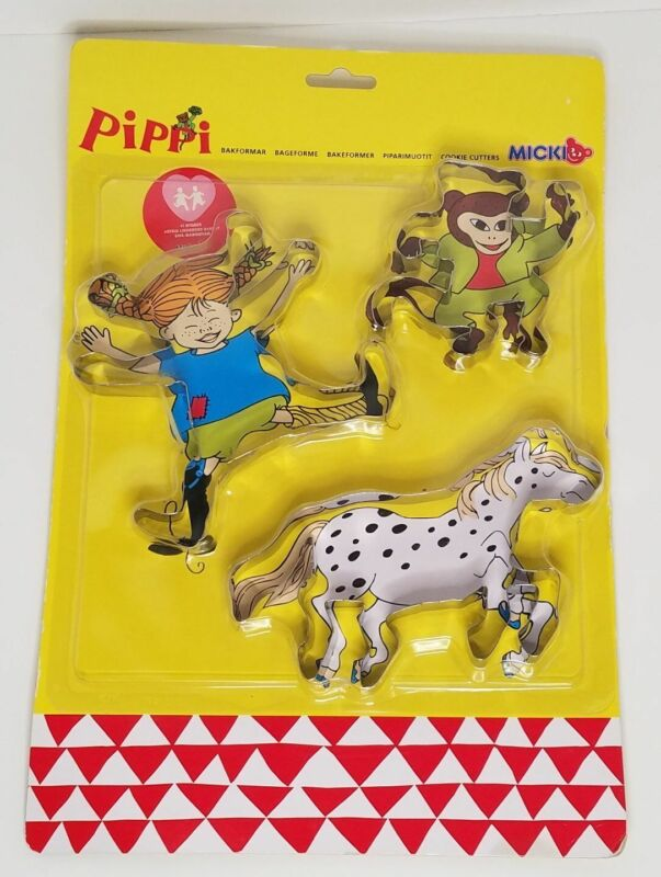 Set of Three Pippi Longstocking Metal Cookie Cutters on Card New Micki