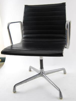 Vintage Herman Miller Eames Black Vinyl Office Desk Aluminum Group Chair B