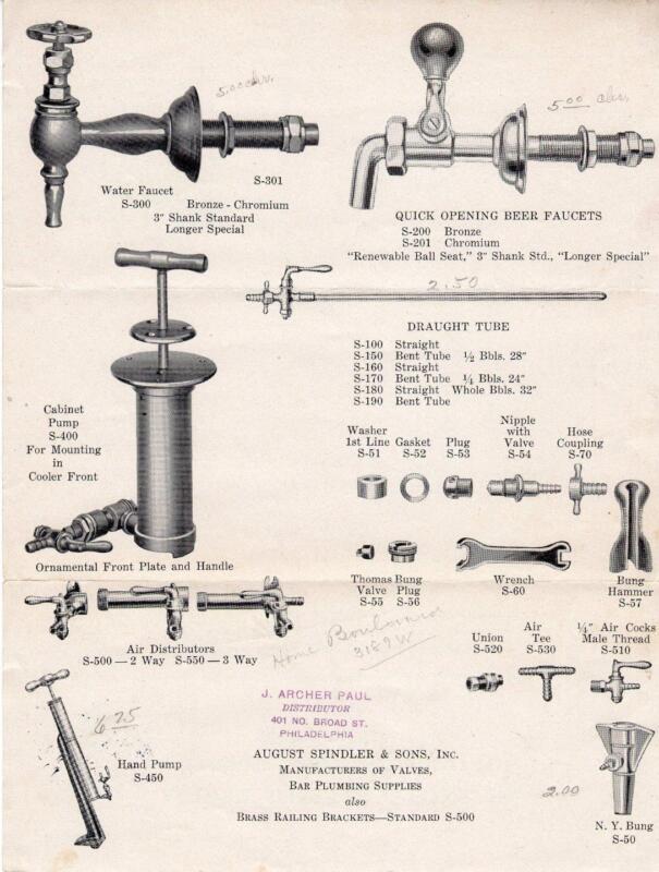 1933 AUGUST SPINDLER & SONS*JERSEY CITY NJ*BAR PLUMBING SUPPLIES & VALVE MFG