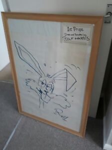 Rolf harris art sketch with large pine frame