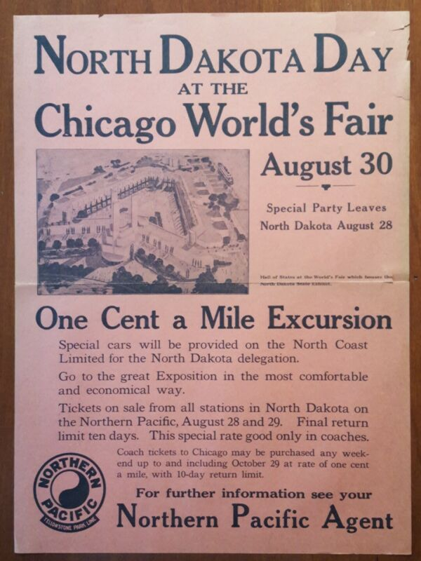 Northern Pacific Railroad Poster * 1933 Chicago World