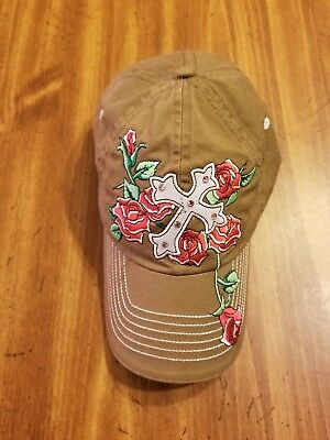 CROSS Cap with roses hat Cowgirl Western Gypsy Southwest With - Black Cowgirl Hat With Rhinestones