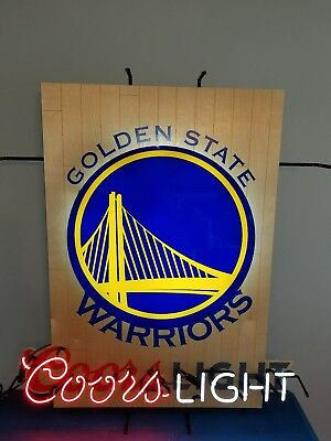 (L@@K) Coors Light beer Golden State Warriors neon light up basketball sign (Golden State Warriors Neon Sign)
