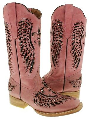 Cowgirl Formal Wear (Womens Pink Black Flower Sequins Leather Wings Cowgirl Wear Boots Square)