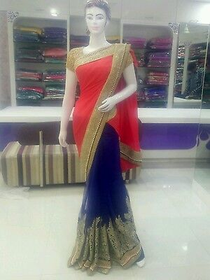 Bollywood Indian Pakistani wedding party wear saree, two tons colour.  Saree Collection