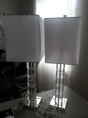 Ethan Allen 2 Crystal Blocks Table Lamps