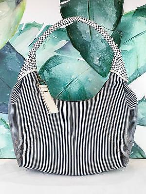 ($990 FENDI Spy Bag Blue & White Striped Denim Seersucker Leather Hobo Bag SALE!)
