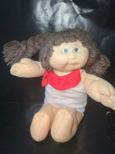 1985 Cabbage Patch Kids Brunette Girl Doll Brown Eyes and Braids swimsuit