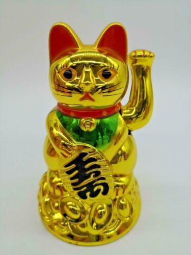 "Feng Shui BECKONING GOLD CAT Wealth Lucky Waving Kitty Maneki Neko 4.5"" US"