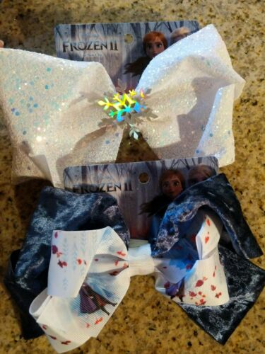 Set of Scunci Frozen II Girls Jumbo Salon Bow Hair Clips 2