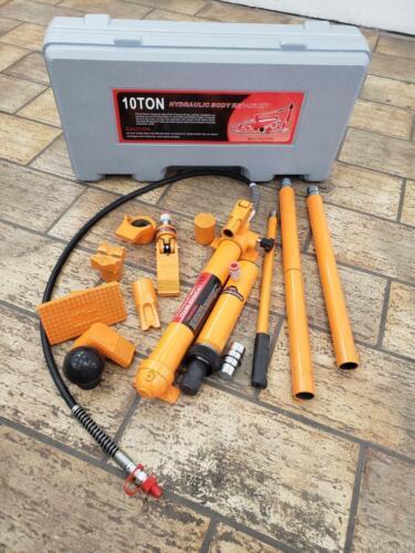 10 Ton Porta Power Hydraulic Jack Auto Body Frame Repair Kits Lift Ram 2 m Hose