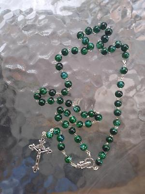 """Murano Style Green Black mixed color Glass Bead Rosary 19"""""""