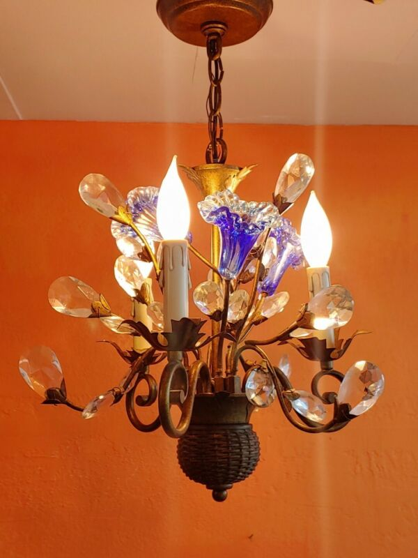 Antique -Vintage 3-Arm Italian Gilded Chandelier With Blue Glass Flowers