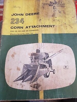 John Deere 234 Corn Attachment For 45 55 95 Combine Operators Manual Om-n159029