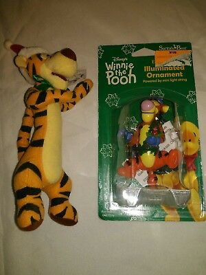 Lot TIGGER Disney Bendy pal and illuminated Christmas ornament Retired Disney