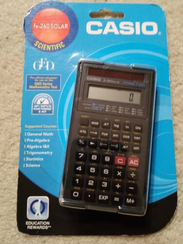 Casio fx-260 Solar Calculator Scientific GED Pre Algebra Statistic Fraction Math