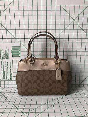 Coach F39521 MINI Signature Brooke Carryall Satchel Crossbody Khaki Rose Gold