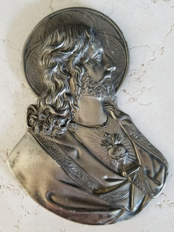 L.V.A  1924 Vintage Metal Jesus Wall Hanging Plaque Made in USA Dimensional