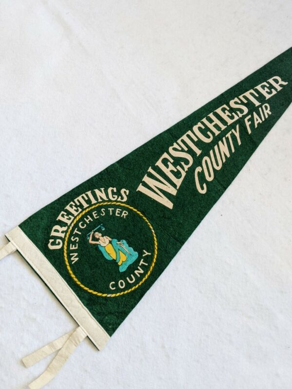 Vintage Westchester County Fair New York Green Felt Pennant