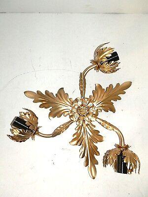 Plafoniera Lampadario oro Foglia in Ferro ACANTO 3 Luci da soffitto