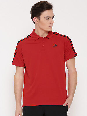 Adidas Nwt Red Stripes D2m 3S Polo Top Golf Climalite Casual Shirt Size X Large