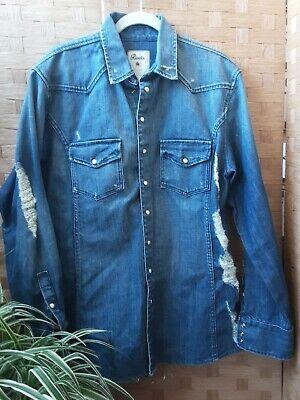 United Rivers Mens Western Snap Denim Shirt Distressed Size XLarge