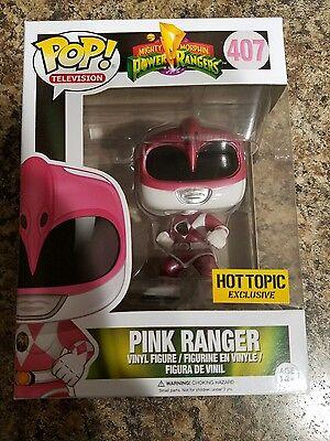Funko Pop! Power Rangers Pink Ranger Metallic #407 Hot Topic Exclusive Brand New](Hot Pink Power Ranger)