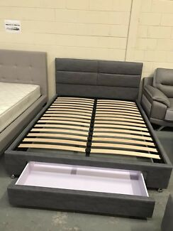 Brand new fabric bed frame super strong slats with drawer D$330,Q$350