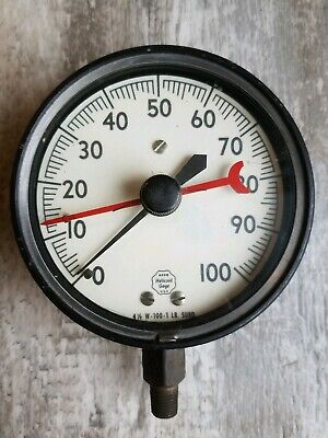 Vtg Steampunk Helicoid Pressure Gauge Large 4-12 Face Half Moon Needle Acco