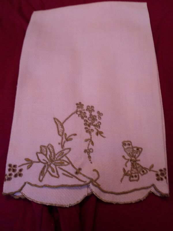 "1 Beautiful Madeira Lavender Damask  Linen Hand Towel 21"" x 14"""