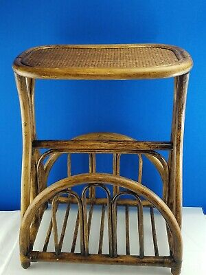 Bamboo Rattan Wicker Magazine Book Rack Side/End Accent Table iPad Laptop Storag