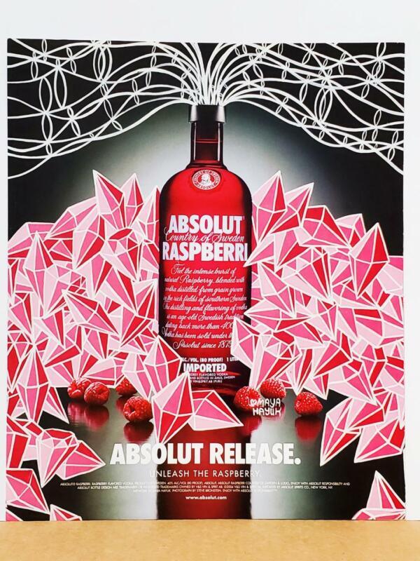 Maya Hayuk Absolut Raspberry Release 2005 Vodka Print AD Cool Geometric Design